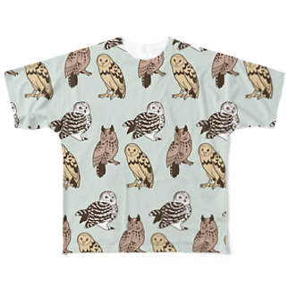 ななめやの三羽フクロウ Full graphic T-shirts