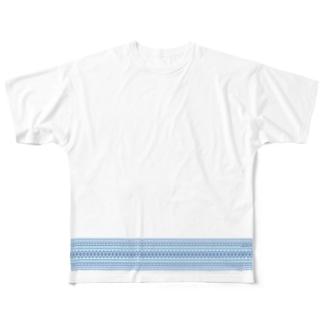 献上柄 青 Full graphic T-shirts