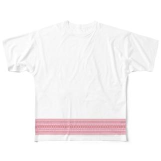 献上柄 赤 Full graphic T-shirts