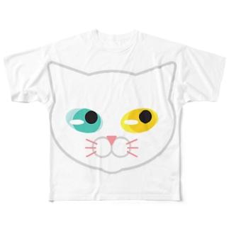 オッドアイな白にゃんこ Full graphic T-shirts