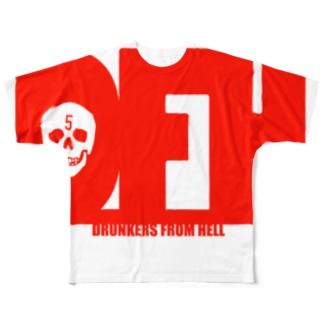 地獄の酔っ払い・吐血ver Full graphic T-shirts