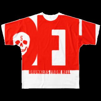 シューティングバーFIVEの地獄の酔っ払い・吐血ver Full graphic T-shirts