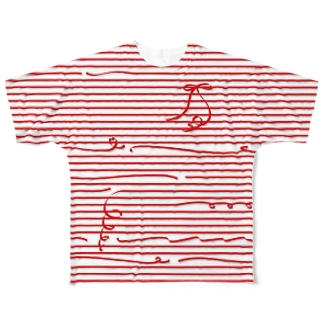 Red Stripes Full graphic T-shirts