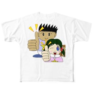 わんぱ君としおりちゃん Full graphic T-shirts