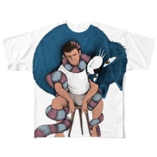 巻きつく猫 Full graphic T-shirts