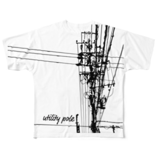 電信柱 Full graphic T-shirts