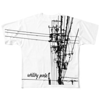 晴來工房の電信柱 Full graphic T-shirts
