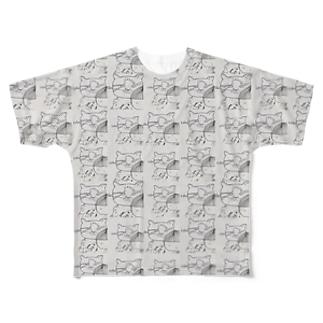 刈り上げさんとネコ Full graphic T-shirts