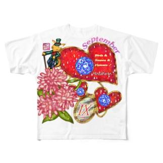「花籠」Series * Birth09 September Full graphic T-shirts