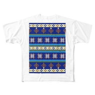 ノルディックブルー Full graphic T-shirts