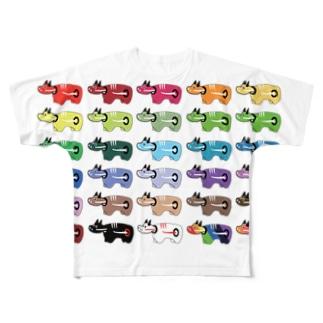 カラフル赤べこ Full graphic T-shirts