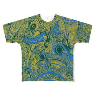 青黄模様 Full graphic T-shirts