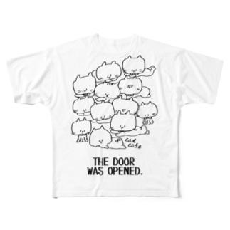 neko(白黒) フルグラフィックTシャツ