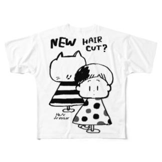 びようしさん(白黒) フルグラフィックTシャツ