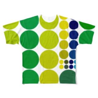 青と黄色とか緑とか好きすぎる方のためのグッズ、まるまる可愛い Full graphic T-shirts