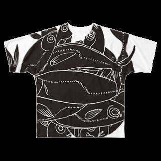 megumiillustrationのAJI Black フルグラフィックTシャツ