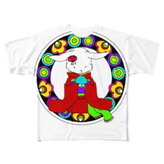 うさぎと手毬 Full graphic T-shirts