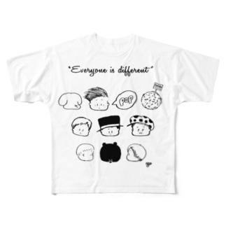 kaotakusan 白黒 フルグラフィックTシャツ