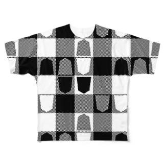 将棋ギンガム(黒) フルグラフィックTシャツ