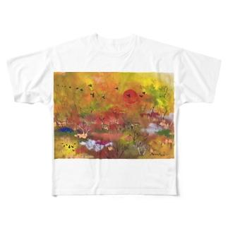 日沈み行く釧路湿原 フルグラフィックTシャツ