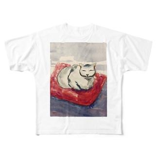 香箱座りネコ フルグラフィックTシャツ