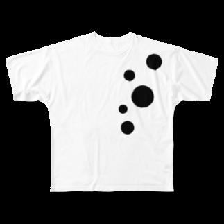 tukurunoのシックな水玉娘 Full graphic T-shirts