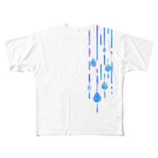 雨の日のお散歩 フルグラフィックTシャツ