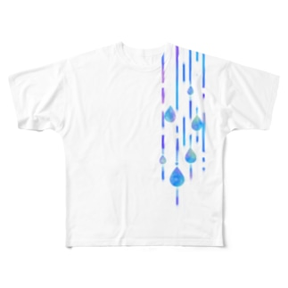 雨の日のお散歩 Full graphic T-shirts