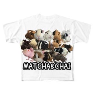 羊毛モルモット大集合 Full graphic T-shirts