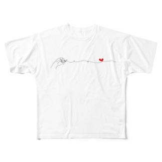 仲良しカップルの休日ご近所デート(華奢な手指タイプ) フルグラフィックTシャツ