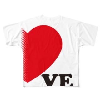 【suzuri店限定】ドットが♥ ラブラブ VE ペアルック Full graphic T-shirts