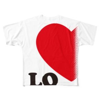 【suzuri店限定】ドットが♥ ラブラブ LO ペアルック Full graphic T-shirts