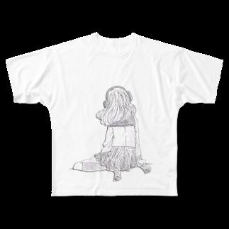 倉田姉妹店のヘッドホンの女の子T* フルグラフィックTシャツ