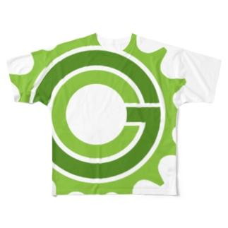 Green Cog Cog Logo フルグラフィックTシャツ