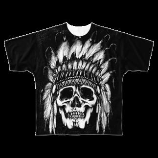 The Loving TreeのIndian Skull Face Full graphic T-shirts