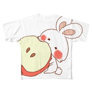 りんごを食べるうさぎさん フルグラフィックTシャツ