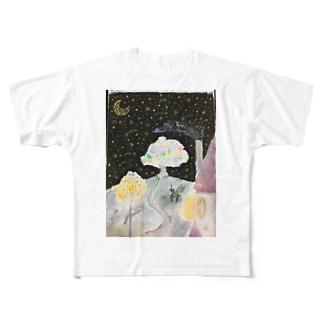 月夜の願い Full graphic T-shirts
