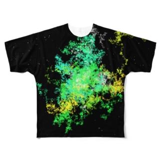Pastel Galaxy(Green and Yellow) フルグラフィックTシャツ