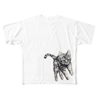 ぴょんぴょん猫 Full graphic T-shirts