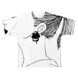まなざし(モノクロ) Full graphic T-shirts