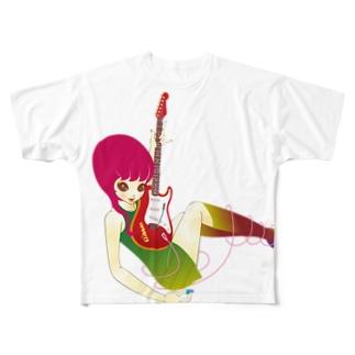 ギターを持つ小悪魔 Full graphic T-shirts