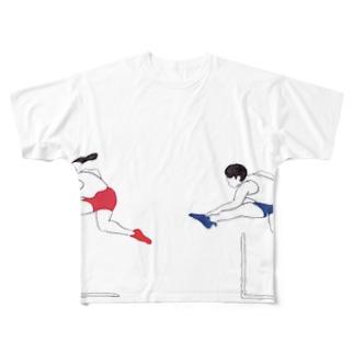 ハードル走男女 Full graphic T-shirts