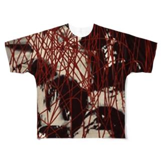 「ぼくは正常です。」ホラー注意。サイコパス生首デザイン Full graphic T-shirts