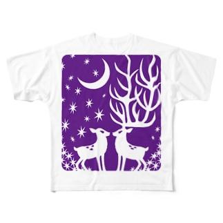 鹿・ぱーぷる Full graphic T-shirts