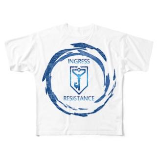 INGRESS RESISTANCE BlueFlare Full graphic T-shirts
