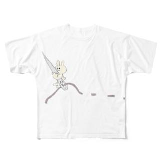 ちくちくお裁縫ウサギ Full graphic T-shirts