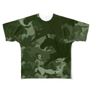 お馬迷彩 グリーン Full graphic T-shirts