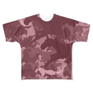 お馬迷彩 ピンク Full graphic T-shirts