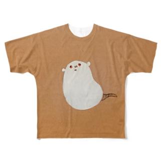 かしこい、どぶネズミ(白) Full graphic T-shirts