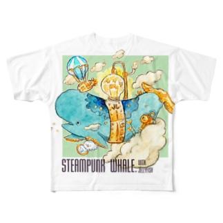 機械クジラとクラゲの逃避行 Full graphic T-shirts